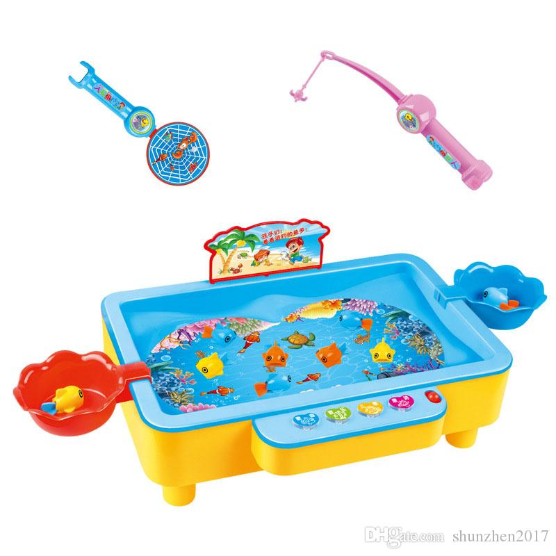 Add Water Electric Magnetic Fishing Game Toys with Music Light Portable Indoor Outdoor Fishing Board Kids Interactive Toy