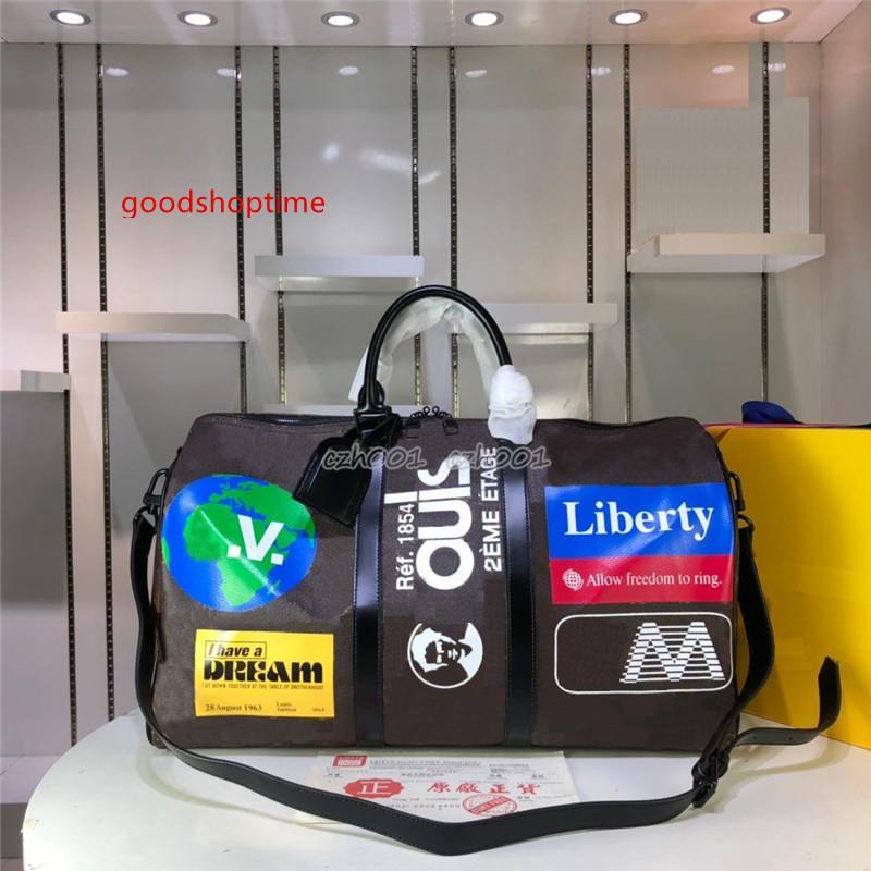 Mujeres de los hombres de la lona bolsos del diseñador del cuero auténtico de moda los viajes grandes deportes de capacidad a prueba de agua bolsa de lona M44641