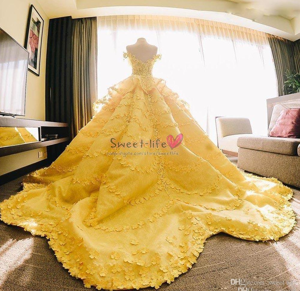 Luxury Yellow Ball Gown Middle East Wedding Dresses 20D Flower ...