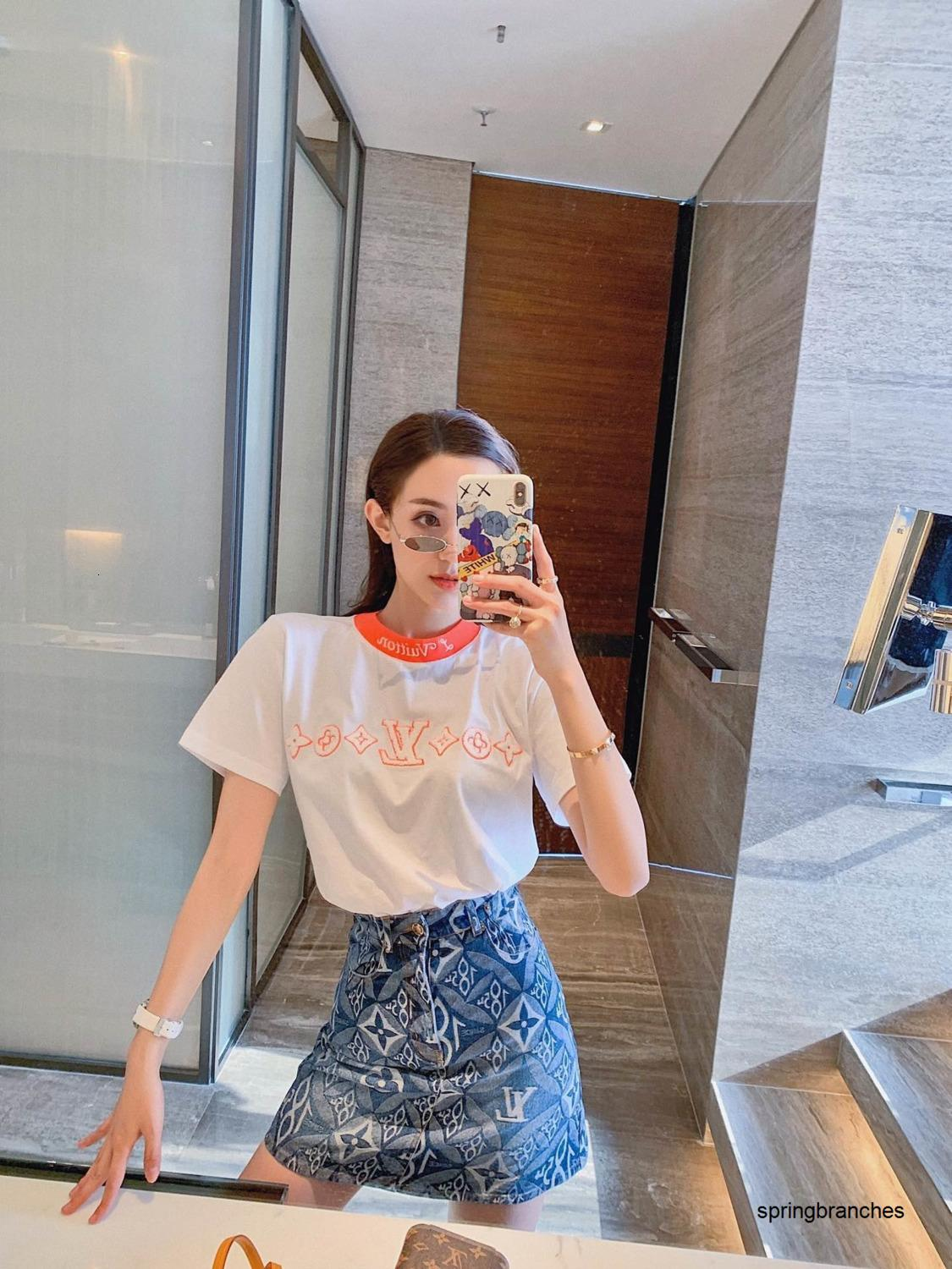Women's Trend Short Sleeve T-shirt Spring summer new style, exclusive matching different color collar classic color design 040503