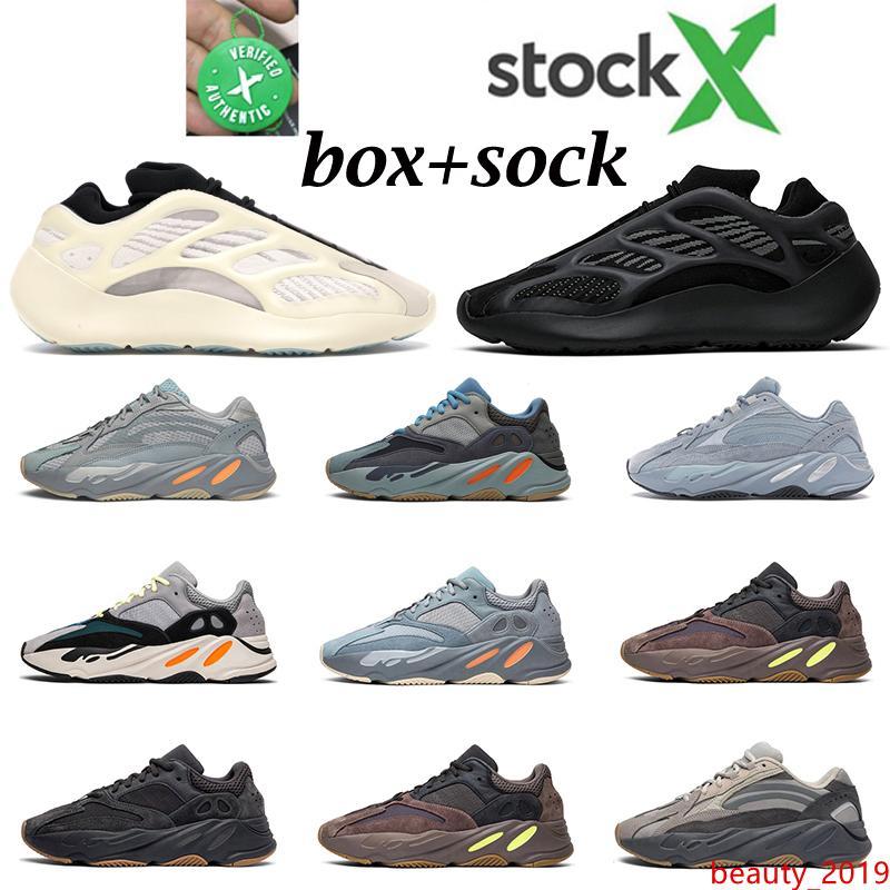 Nuove Kanye uomini donne scarpe corridore dell'onda Azael Alvah carbonio Utility Blue Black inerzia magnete 700 mens allenatore sneakers modo mette in esecuzione