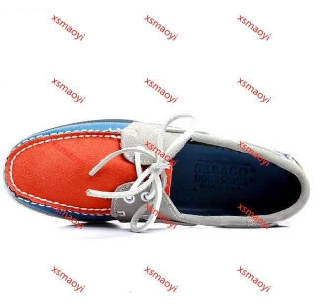 SEBAGO رجال الموضة يرتدون جلد الغزال حذاء زورق هوكوكال مينز الأزرق جلد الغزال أحذية جلدية أحذية عادية حجم كبير