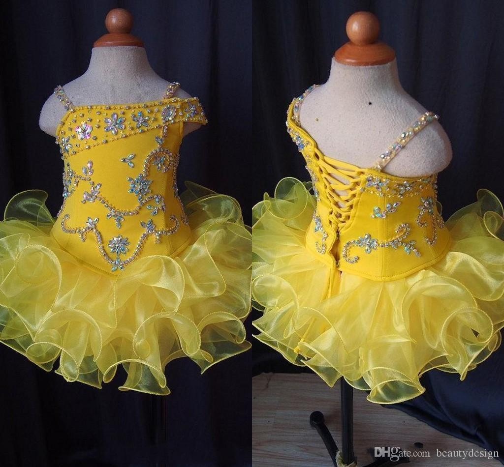 Real Images Flower Girl Dress Yellow Glitz Little Girl's Pageant Dress Spaghetti Straps Crystal Beaded Ruffle Short Kids Infant Party Gown