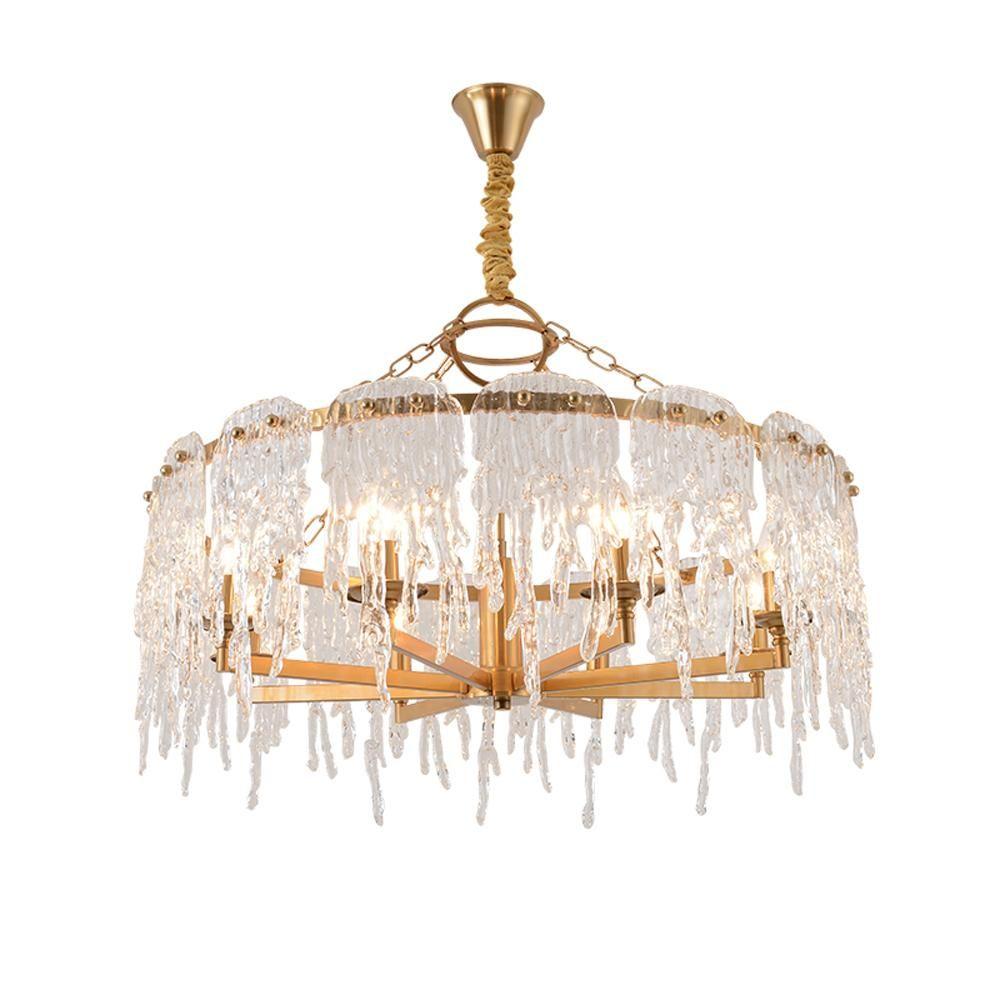 Новый дизайн висит люстра свет СИД современный светильник AC110V 220V золотой гостиной столовой люстры освещение
