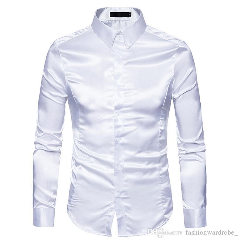 Erkekler Hip Hop Giyim Parlak Rengi için Erkek Moda Gömlek Gece Kulübü Pullu Uzun Kollu Casual Gömlekler