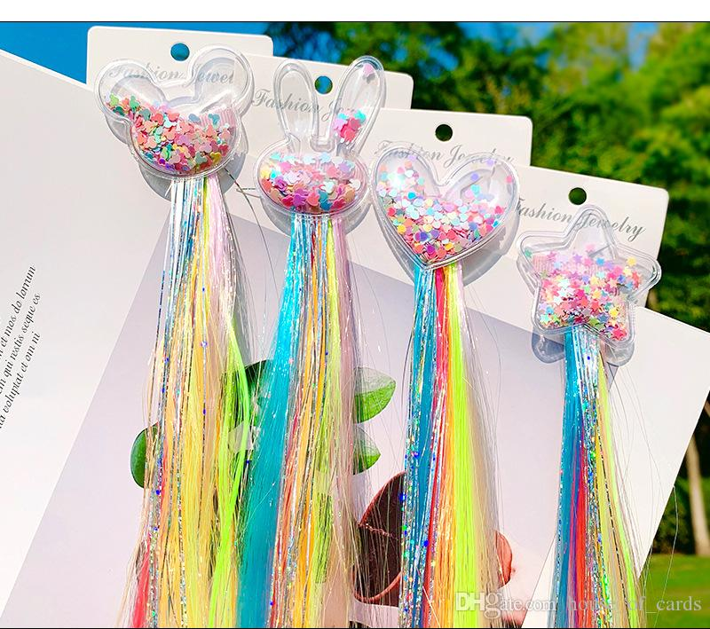 1pcs Cute Girl Woman Lady Party Hair Jewelry Accessories Unicorn Star Color Wig Hair Clip Girl Bow Hair Clip