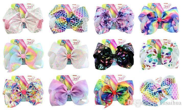 9 Estilos JOJO arco novo arco-íris 8 Polegada grande bowknot Kawaii hairpin criança grampo de cabelo com cartão menina acessórios para o cabelo
