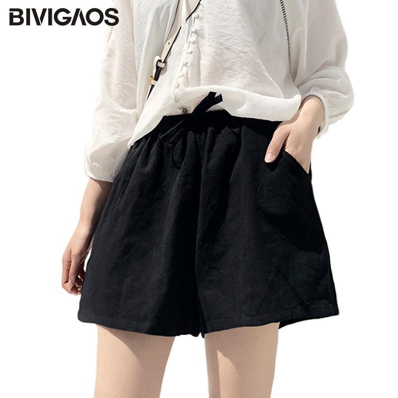 BIVIGAOS été femme Coton Lin Shorts Noir vrac jambe large Short taille haute avec cordon de serrage court pour les femmes Culotte