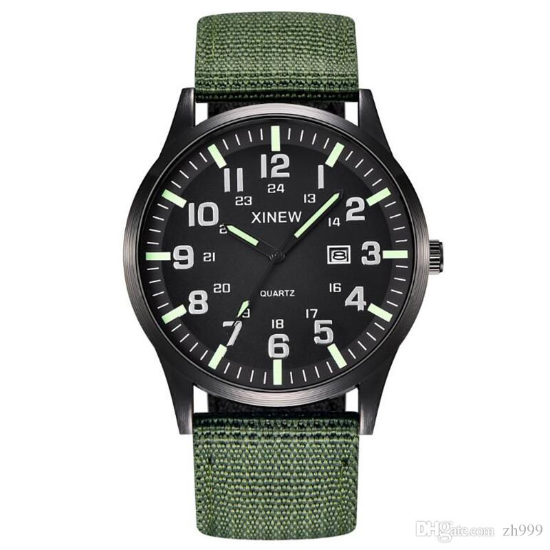 Explosion watch XINEW brand Men's watch nylon belt calendar quartz watch Special calendar 24 hours indication