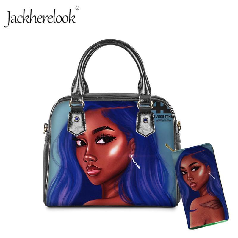 Jackherelook черный женский арт Африканские девушки сумки дамы роскошный дизайн PurseHandbag для женщин 2шт / set Tote плеча сумки