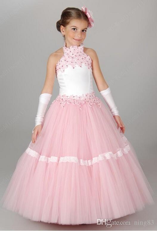 Pink Flower Girls' Dresses For Wedding Lace Applique Ruffles Kids Formal Wear Sleeveless Long Beach Girl's Pageant Gowns