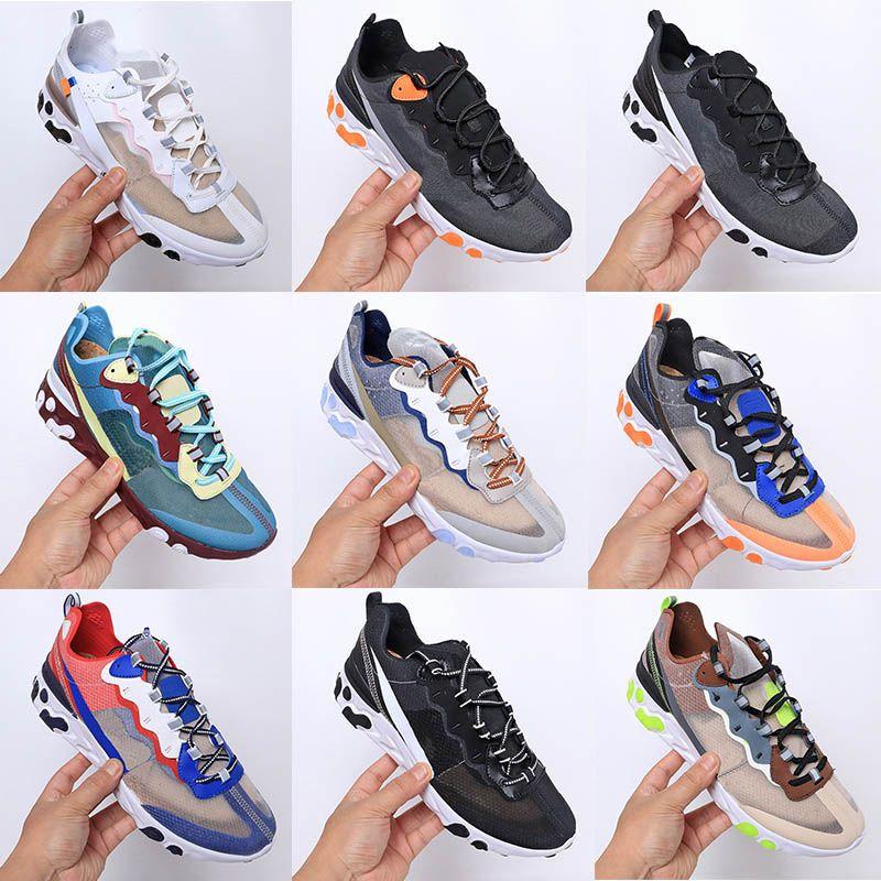 Nike Air React Element 87 55 جديد multicol الرجال النساء يتفاعل العنصر 87 السرية الاحذية مصمم 87 ثانية ثا شبكة تنفس أوم رياضية المدربين حذاء رياضة