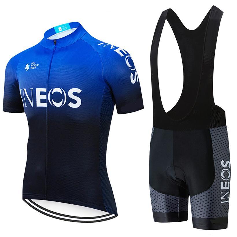 INEOS 사이클링 저지 여름 빠른 건조 사이클링 의류 9D는 턱받이 반바지 키트 로파 Ciclismo 패딩 2020 프로 팀 남성 / 여성을 설정