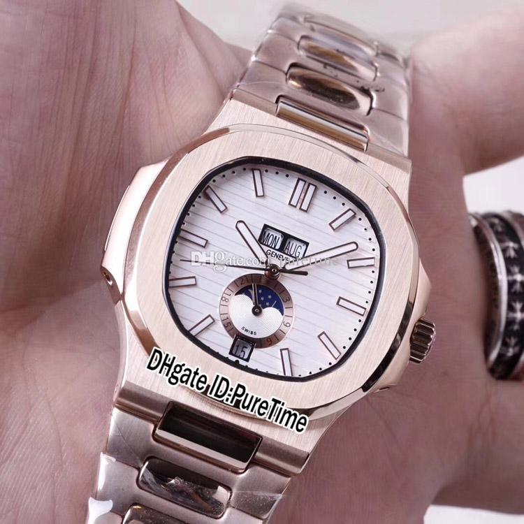 Novo Super B237G7 Rose Gold D-Blue Inoxidável 10 Relógios Data Automática 5726 / 1A Mens Fase Relógio Cores Aço Big Texture Dial Puretime M Ujpd
