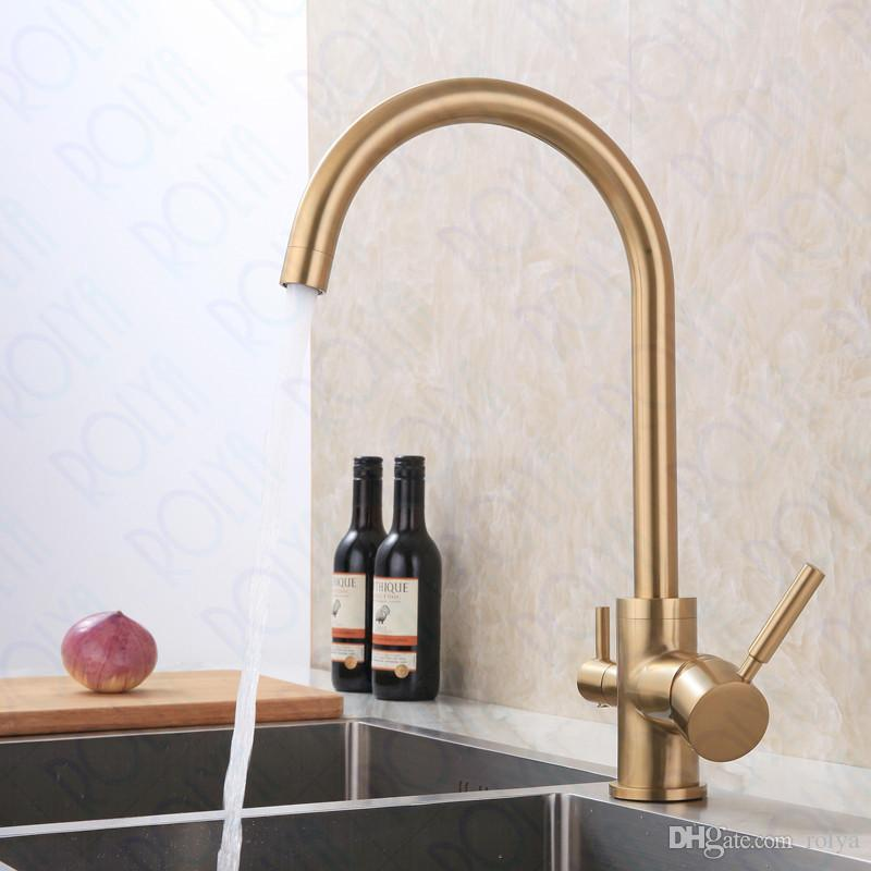 Filtro ROLYA escovado Ouro 3 Way Água da torneira Burnished ouro RO Água torneira da cozinha Tri Fluxo Kitchen Sink Mixer