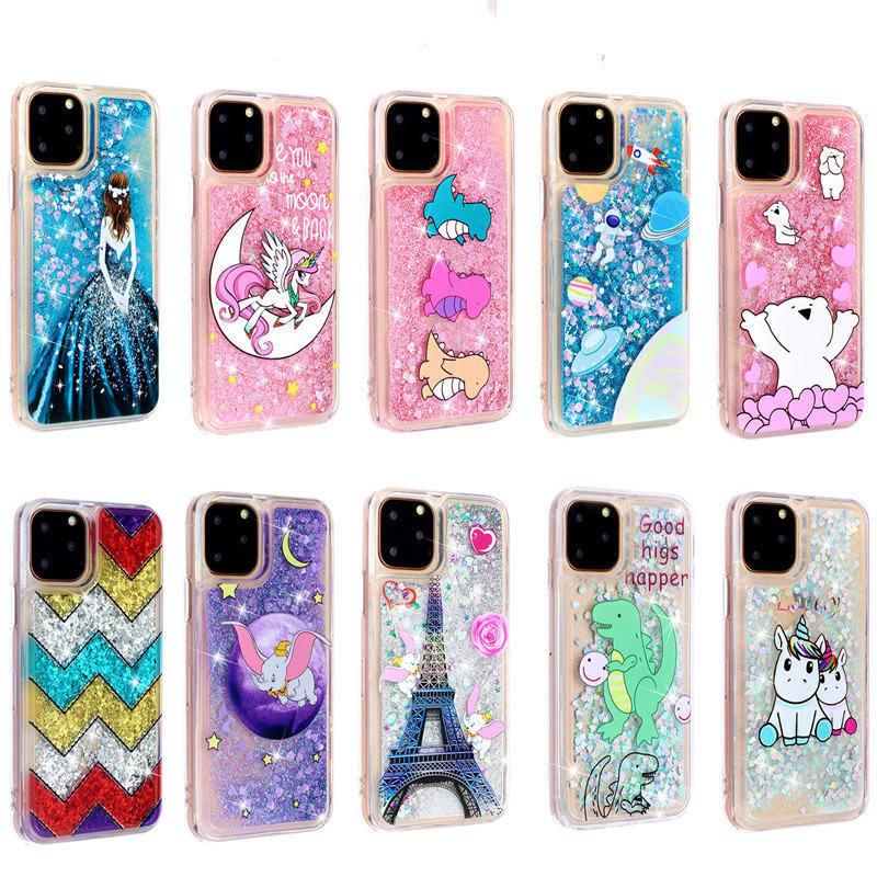 Fashion Liquid Quicksand Cute Cartoon Phone Case For iPhone 11 Pro Max 6 6S 7 8 Plus X XR XS Max Cases Bling Glitter Back Cover