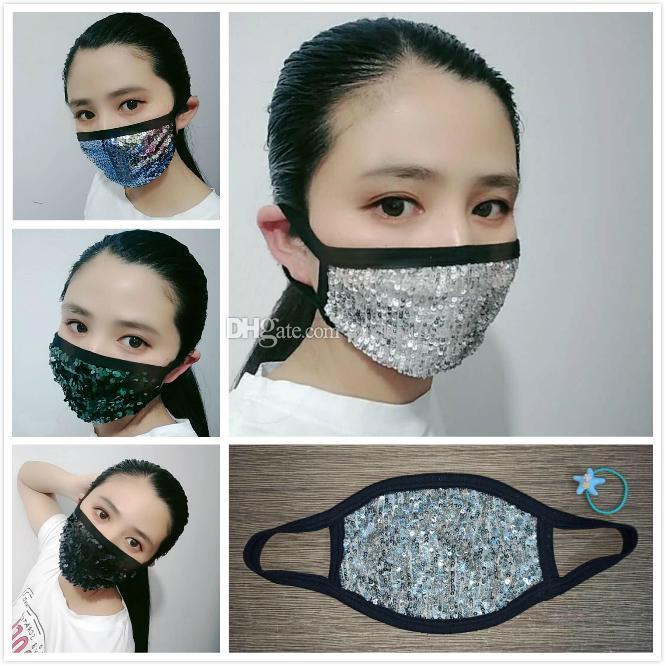 Sequins Anti Toz Yıkanabilir Tekrar Kullanılabilir Güneş Maskeleri Yüz maskesi Tasarımcı Maskesi Nefes Katlanabilir Ağız Maskeleri Maske yazdır