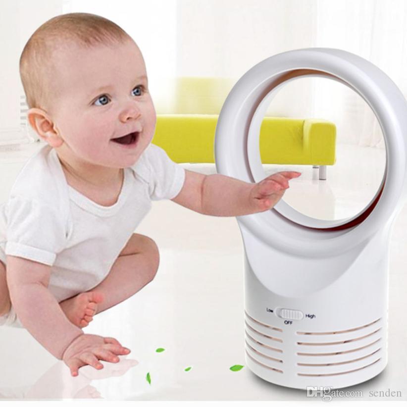 Mini ventilador eléctrico sin cuchilla Mesa silenciosa de mano Sin cuchilla Hoja Aire acondicionado Enfriador Enfriamiento Bebés en casa Estudiantes con adaptador de corriente