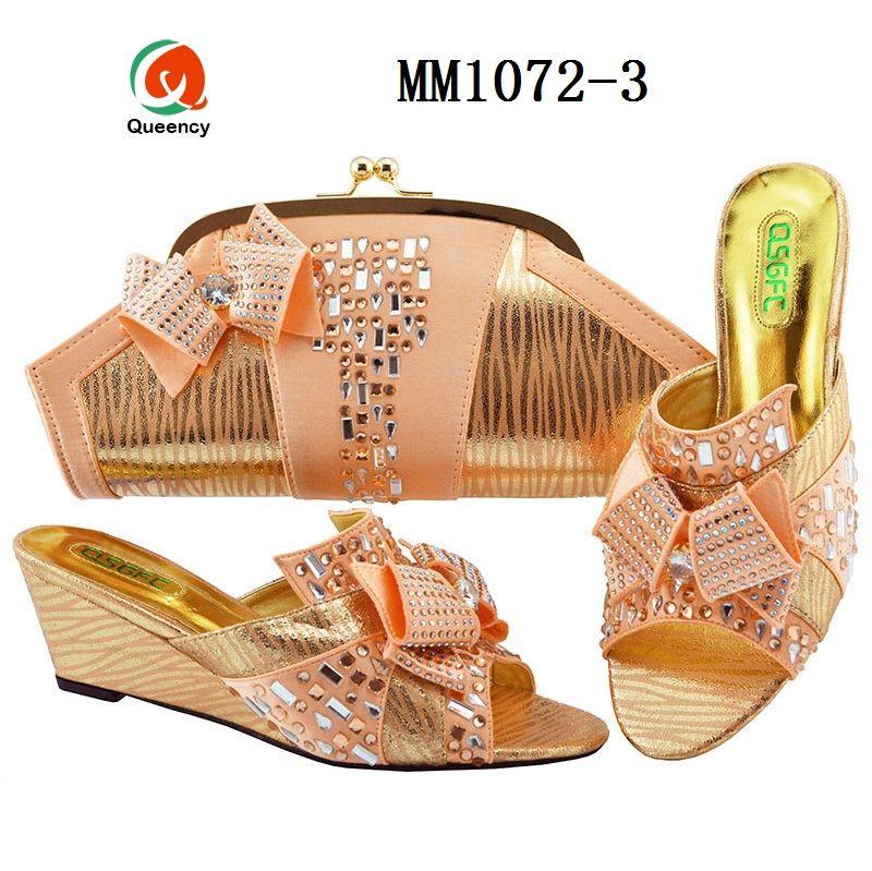 Dgrain Hohe Qualität Italienische Strass Schuhe und Taschen Spiel Nigeria Niedrige Ferse Schuhe Für Frauen 2019