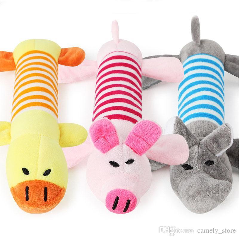 24cm animal de estimação brinquedo pelúcia vocal tira animal brinquedos longos elefante animal de estimação brinquedo pelúcia listrado porco rosa e pato soando cão dentes de brinquedo