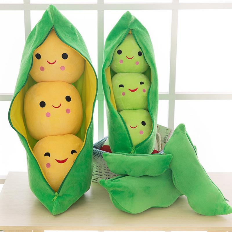 Mignon Forme Cosses de pois en peluche plante Doll 3 haricots avec tissu créatif cas jouet en peluche 2 couleurs