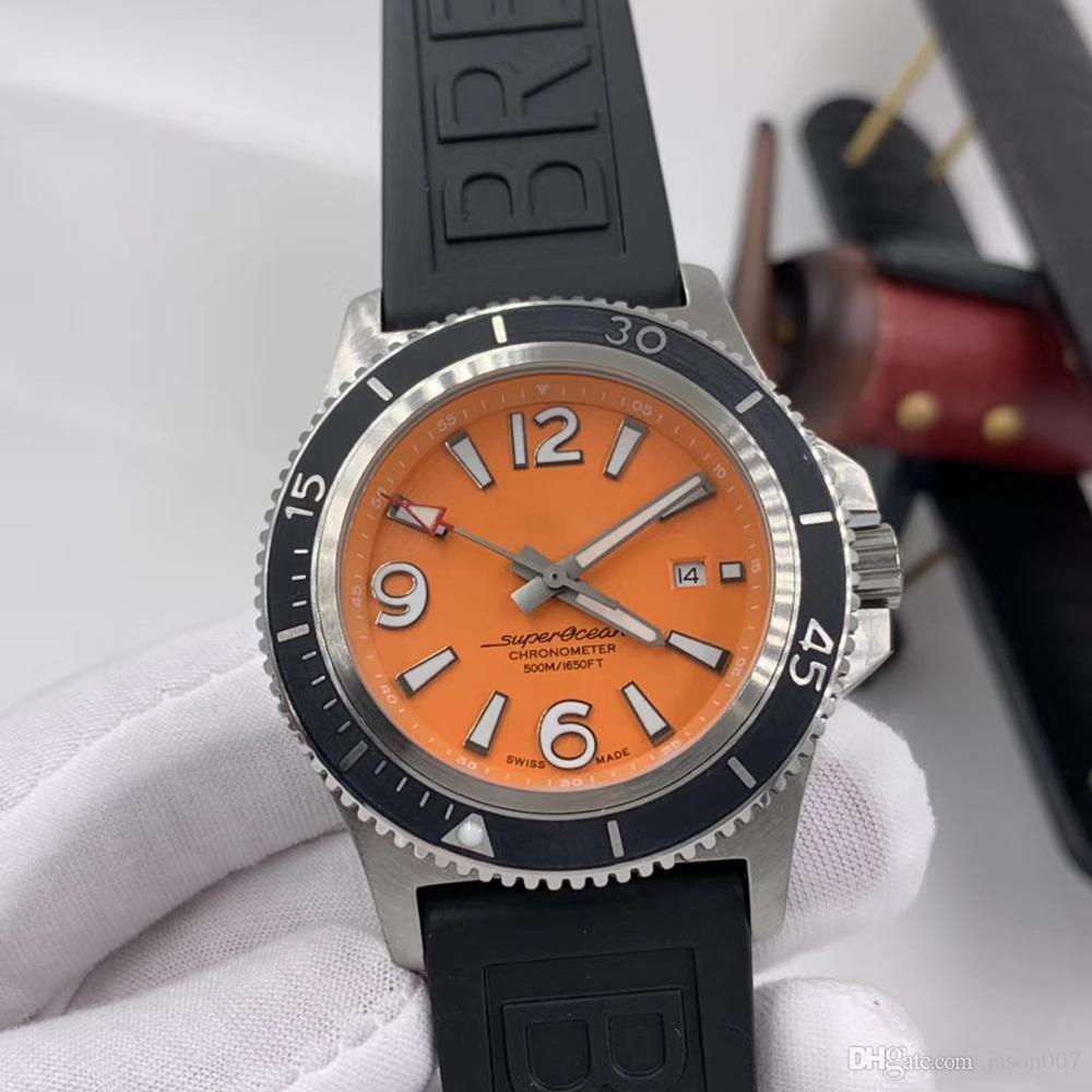 1884 سوبر المحيط 46MM البرتقال الهاتفي الفولاذ المقاوم للصدأ الحافة الدوارة الرجال التلقائية ووتش المطاط الميكانيكية الفرقة ووتش المعصم مضيئة