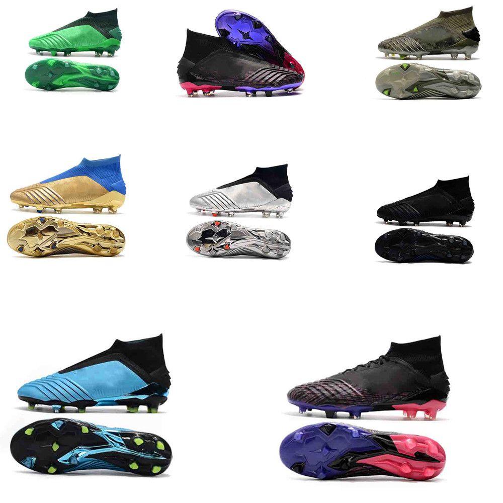 2019 imperméable à l'eau Laceless Predator 19+ Chaussures de football à crampons de football noir Script chaussures de football code d'entrée Garçons chuteiras de Futebol