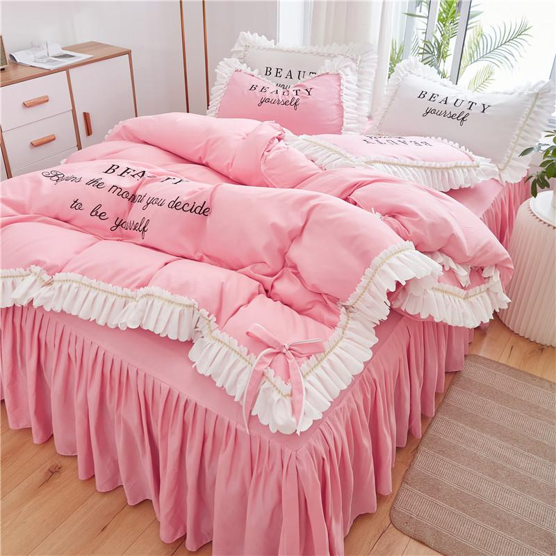 Сплошной цвет милый маленький свежий и удобные кровати Мода принцессы стиль вышивки кровать юбка стиль четыре-костюм