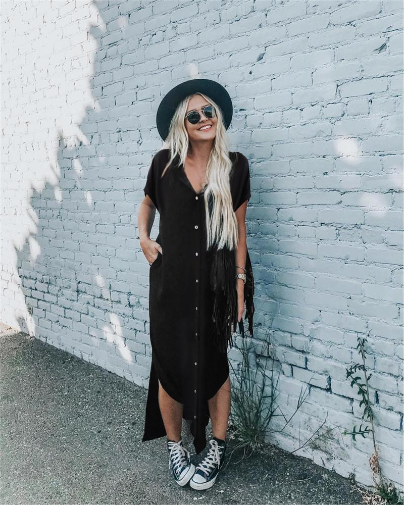 Sommer-Frauen-Normallack-Kleid-Entwerfer-V-Ausschnitts-Büro-Dame Shirt Dresses Fashion Female Streetwear Loose Clothes
