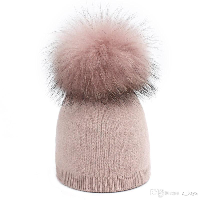 Wool Knit Beanies Fur Pom-Pom Soft Cap Winter Hat Skullies Kids Bone,Beige,Adult