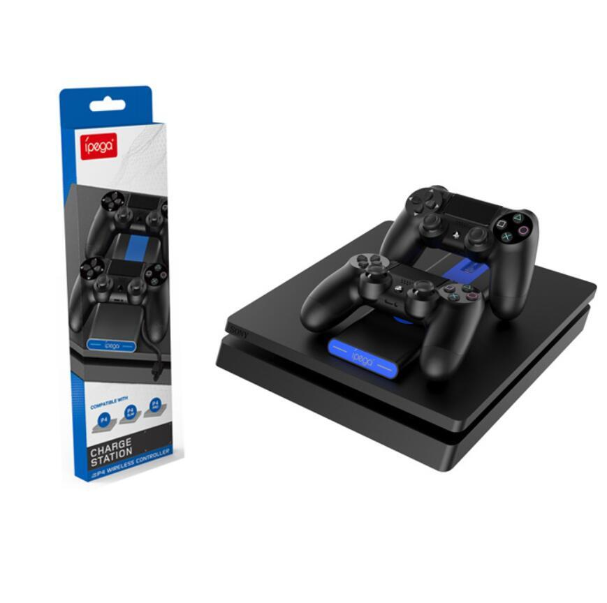 2020 새로운 iPega PS4 컨트롤러는 고속 소니 플레이 스테이션 4 / PS4 슬림 / PS4 프로를위한 무선 도킹 스테이션 듀얼 충전기를 충전