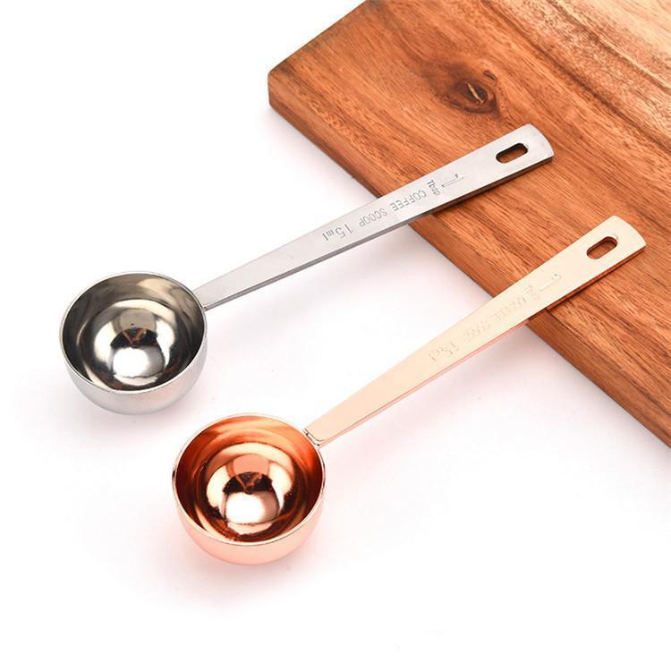2020 15 мл маленький кофейный совок мера ложка весы нержавеющая сталь 304 Материал серебро розовое золото измерительный инструмент