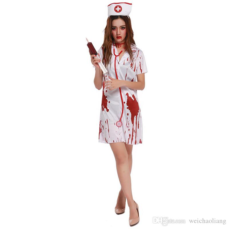 Lcw women's new design sexy role-playing party masquerade Halloween nurse tiara dress uniform ghosts bloody horror white angel blood set