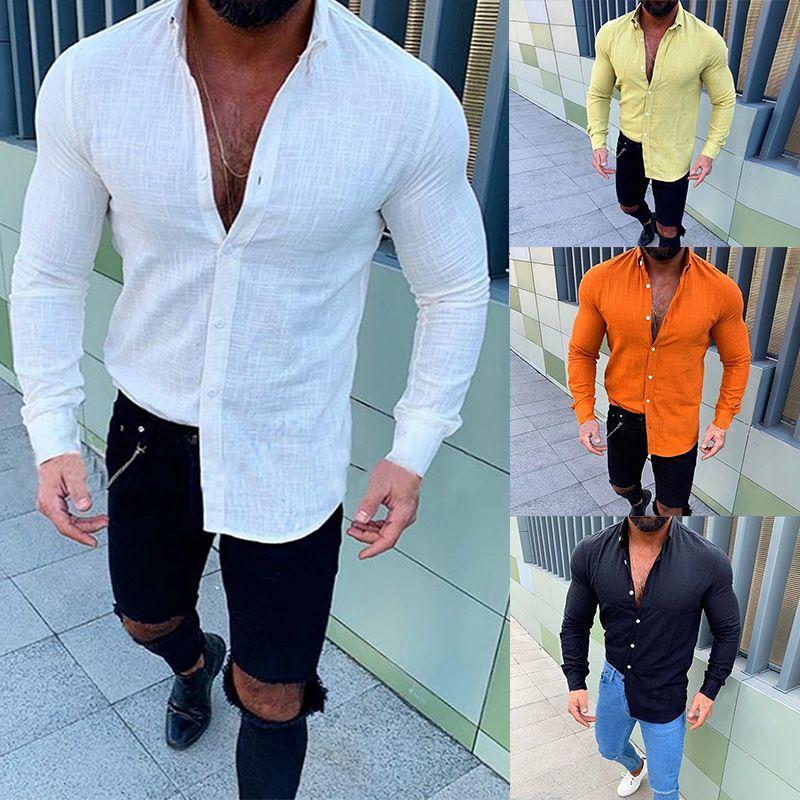 Herrenmode Langarmhemd Baumwolle Leinen Strand Loose Fit Oberteile Bluse Täglich einfarbig Revers Streewear Knopf Freizeithemden