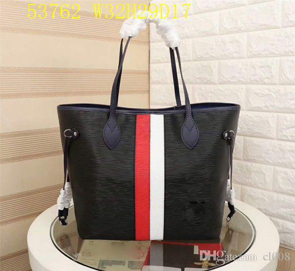 Designer shopping bags Women casual Medium bags real leather block colors waves totes 32cm wide with small pouch Low profit sale