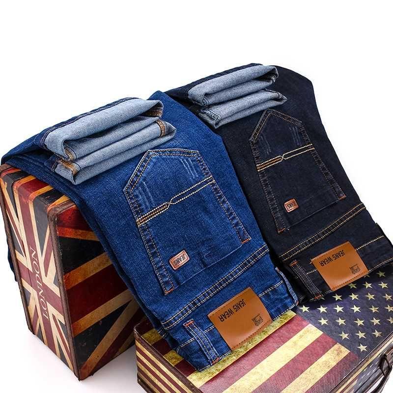 2020 de colilo New Men Moda Jeans Negócios Casual estiramento jeans slim clássico calças jeans calças Masculino Preto azuis