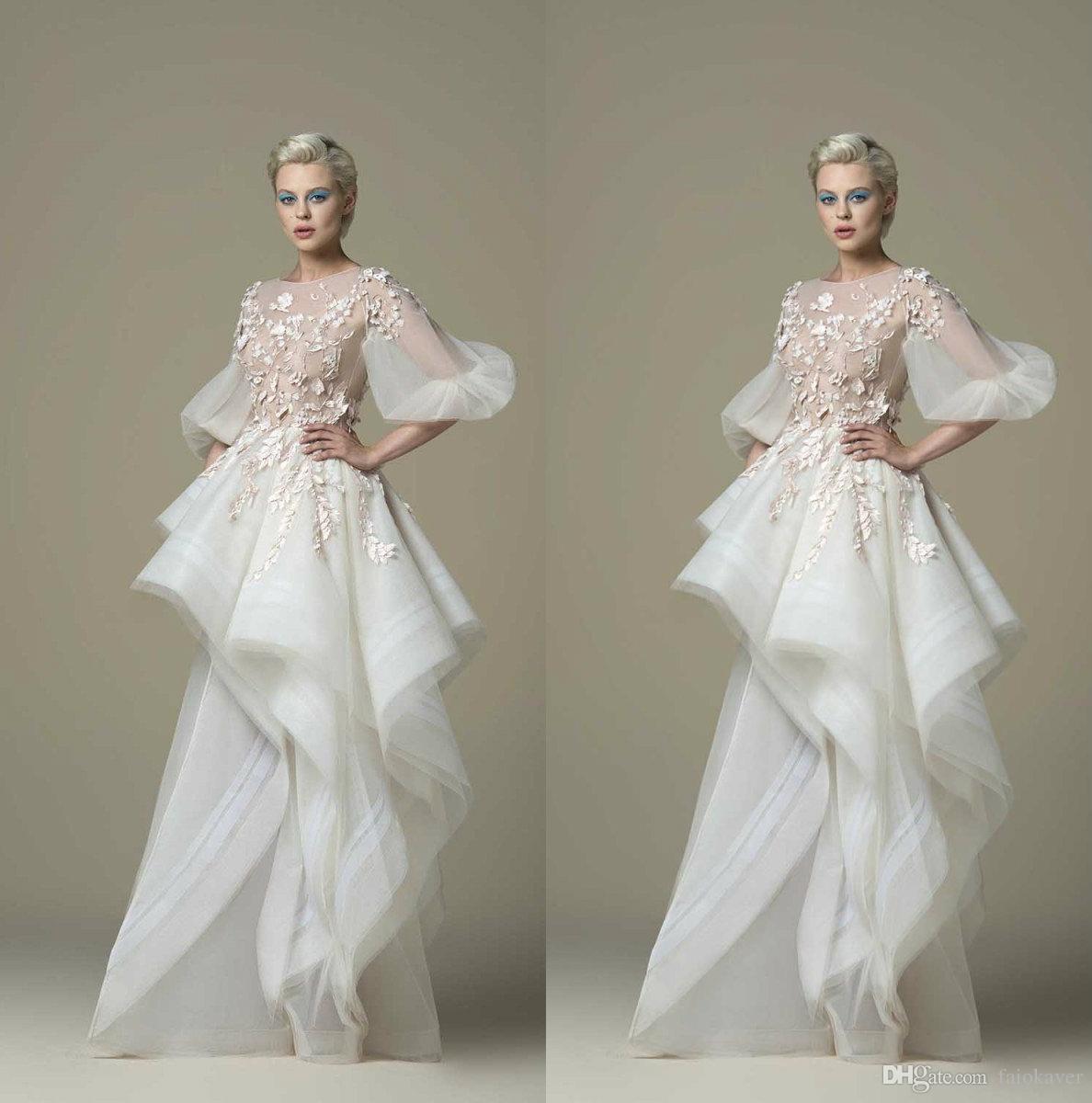 Saiid Kobeisy 2019 Fairy Prom Dresses 3D цветочные аппликация линия кружева половина с длинным рукавом вечерние платья коктейльные платья вечерние платья Homecoming Dress