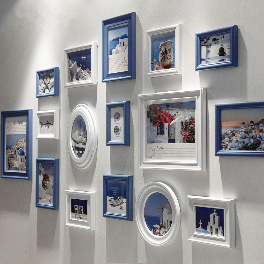 16pcs/Set Mediterranean style Photo Frame,Picture Frames on the Wall,White Blue Frames For Home Decoration,porta retrato,marcos SH190918