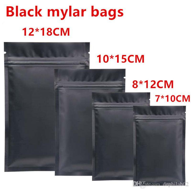 Noir Plastic Sacs Mylar Sacs Zip Lock Feuille d'aluminium Cas de fermeture à glissière pour Vape Sèche herbe à long terme Stockage de nourriture à long terme Protection de protection Tea Universal Emballage