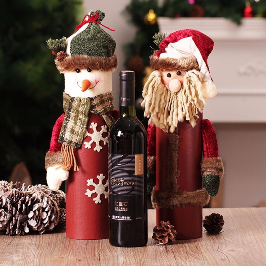 Christmas Decoration Santa Claus Snowman Bags Xmas Wine Bottle Cover Clothes Craft Ornament for Home Arbol De Navidad Gift Box