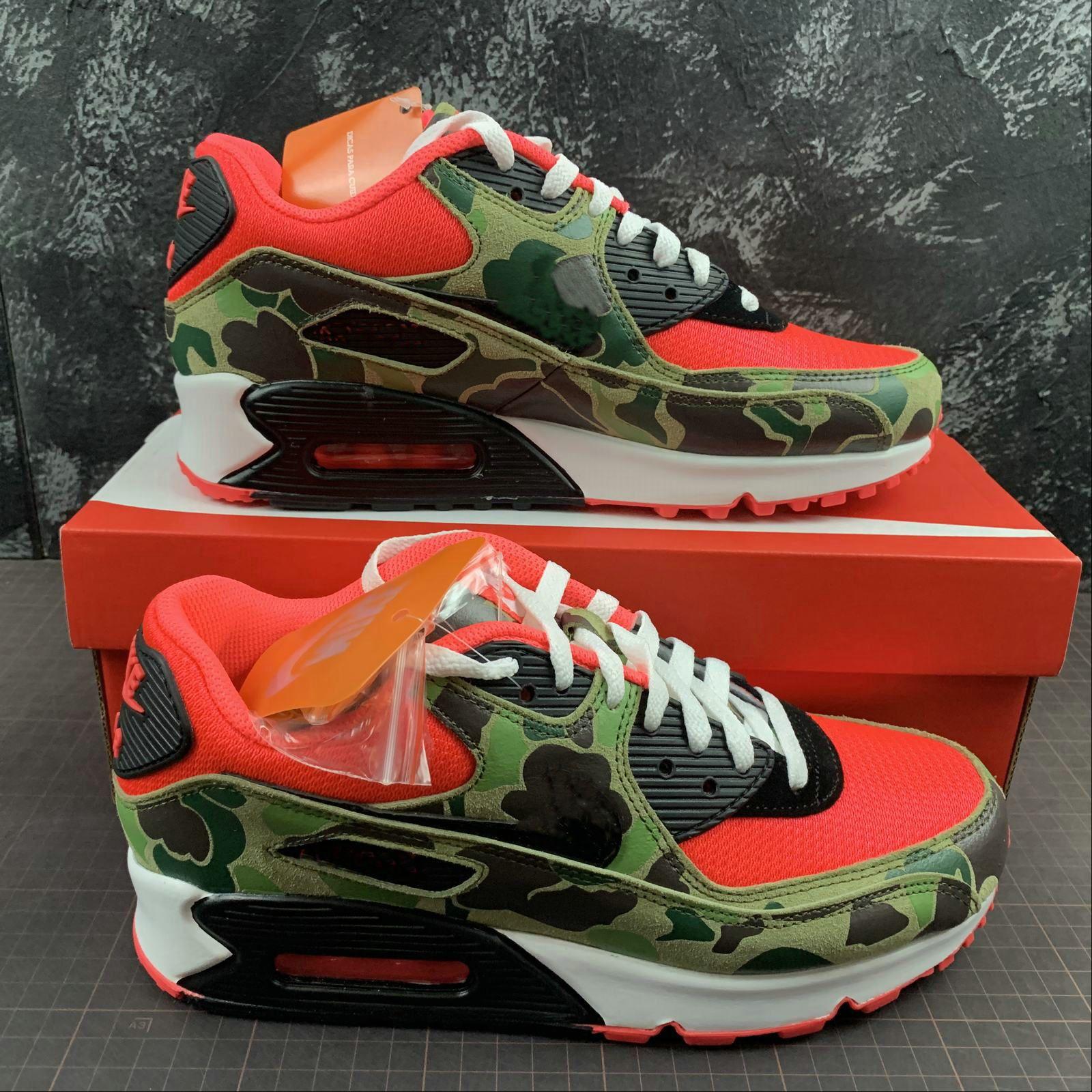 2020 Erkekler 90'lar Spor Ayakkabılar kapalı Kamuflaj Kırmızı Ördek Ayakkabı Tasarımcısı Atmos 90 Ters Running 90 Eğitmenler klasik Spor Chaussures zapatos