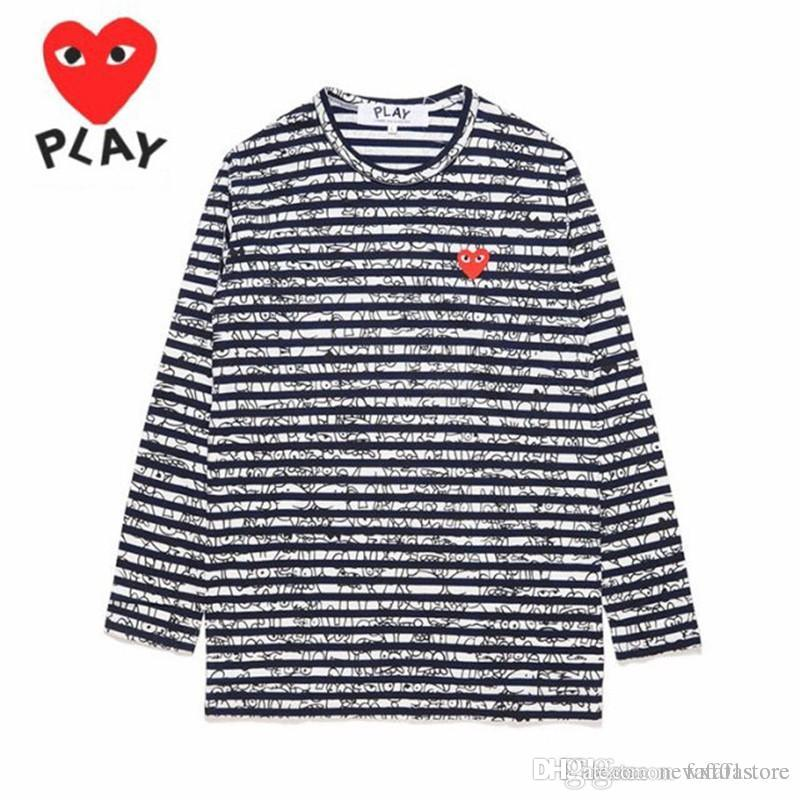2018 New Quality HOLIDAY C031A Royal Blue Heart Unisex Red Heart Graffiti Round Collar Sweatshirts CDG Play Pullover Casual Coat