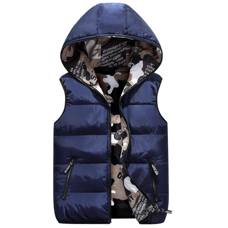 Kids Hooded Vest Autumn/Winter Fashion Parent-Children Camouflage Two-Sided Wear Outerwear Coat Boys Girls 100-185CM Waistcoats