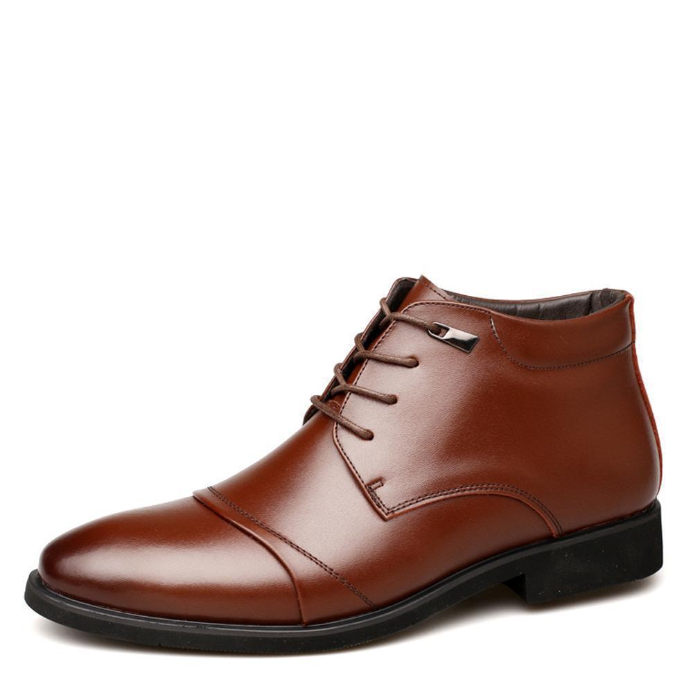 progettista QFFAZ Uomini stivali caldi peluche stivali da uomo Calzature per l'inverno della neve alla caviglia con lacci affari vestito cotone all'interno Shoes5ba1 #