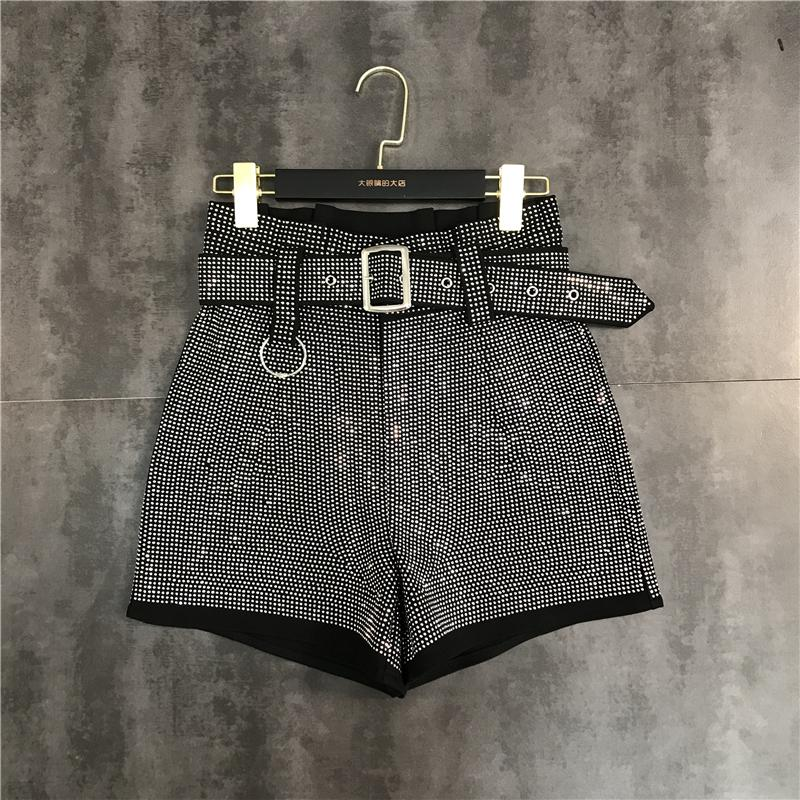 European fashion New design women's high waist with belt sashes rhinestone shinny bling patchwork loose plus size shorts trousers SMLXL