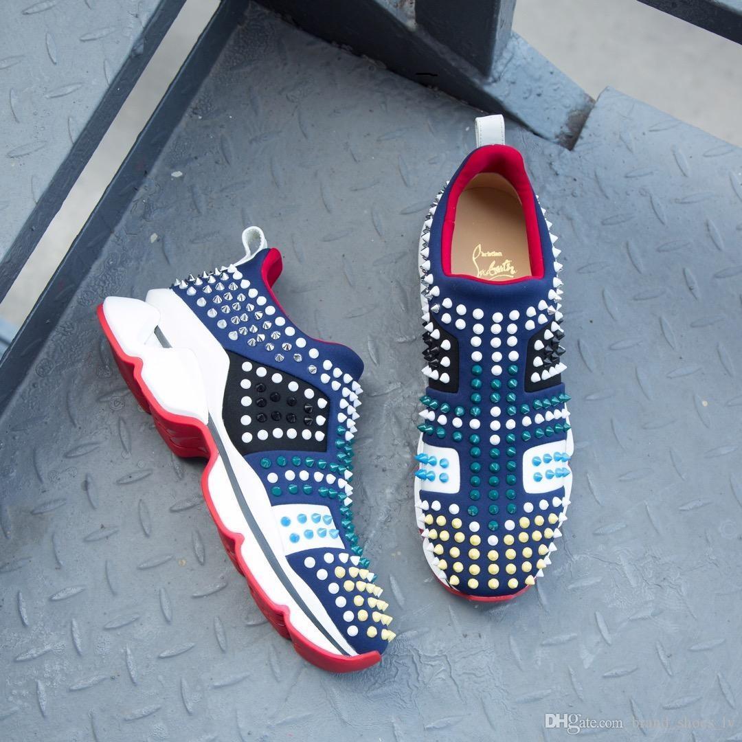 Parte inferior roja Moda Hombre Zapatos casuales Diseñador de lujo Zapatilla de deporte Malla de cuero genuino dedo del pie puntiagudo Race Runner Zapatos Aire libre Entrenadores con caja EE. UU.