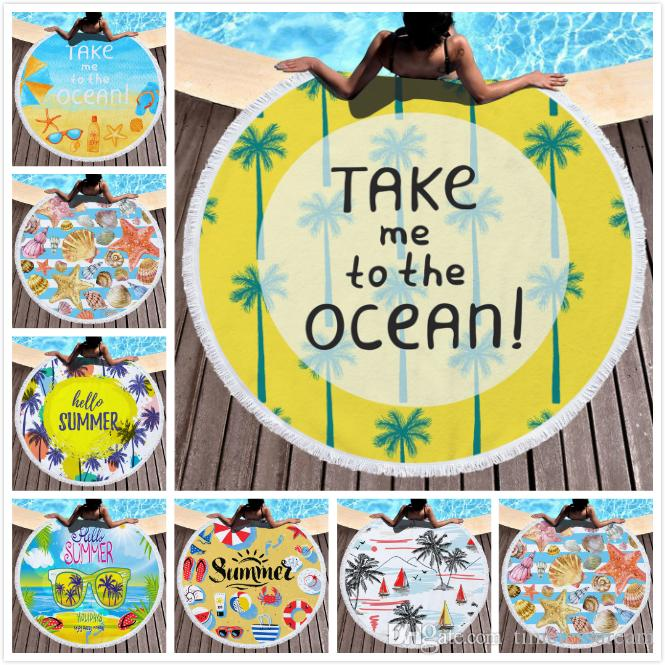 Round beach towel tassel beach towel bed cover yoga mat polyester table cloth printed outdoor camping picnic towel tassel
