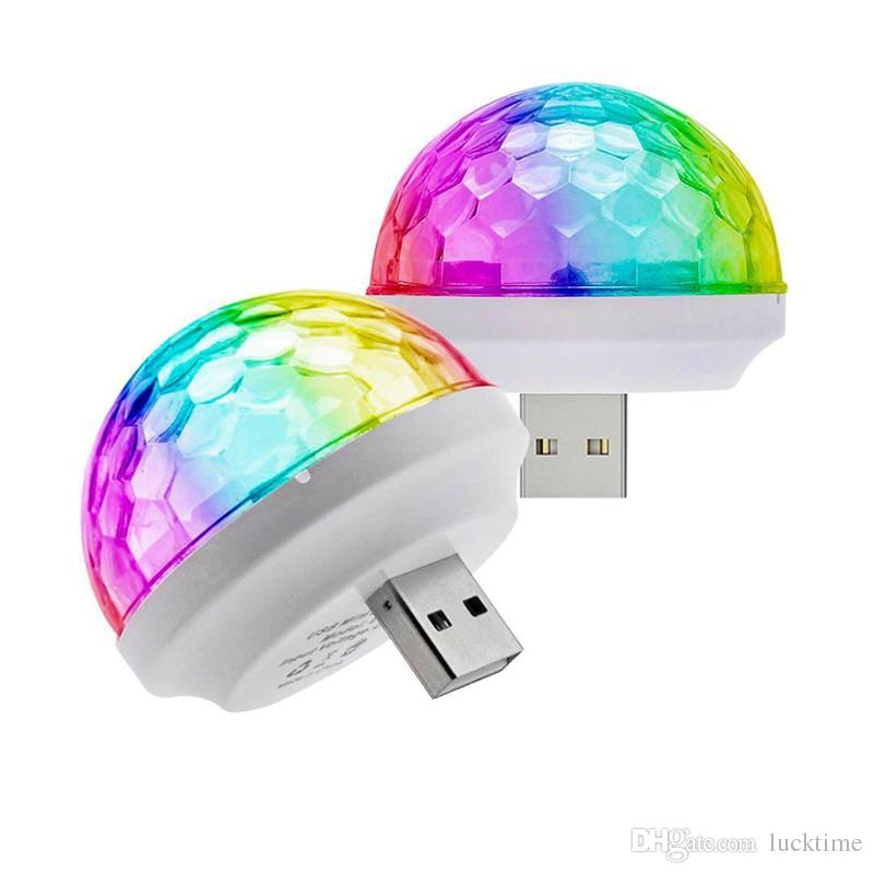 USB Mini LED Effects Stage Light Disco elfin Voice Control Self-propelled Crystal Magic Ball phone Music Bulb night lamp