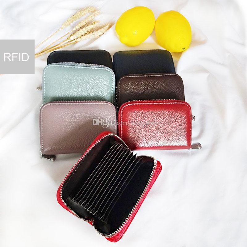 New Rfid Carte de crédit Porte-monnaie en cuir véritable unisexe changement poche clé de bourse de sac de poche Cash Money Wallet sac à main en cuir de vache DHL gratuit