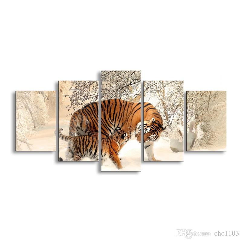 5 pieces high-definition print tiger canvas painting poster and wall art living room picture B-012B